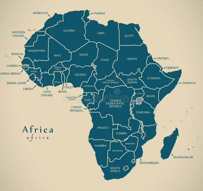 Moderne Kaart - het continent van Afrika met de etiketten van het land stock illustratie