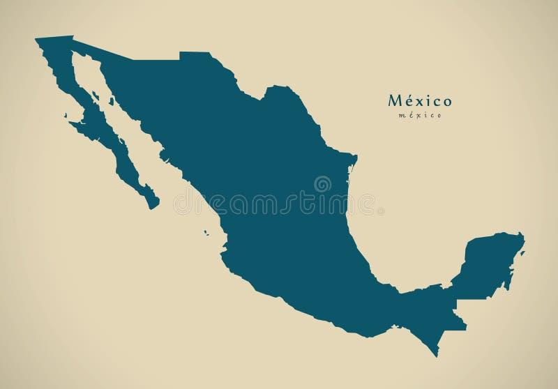 Moderne Kaart - het vasteland van Mexico MX vector illustratie