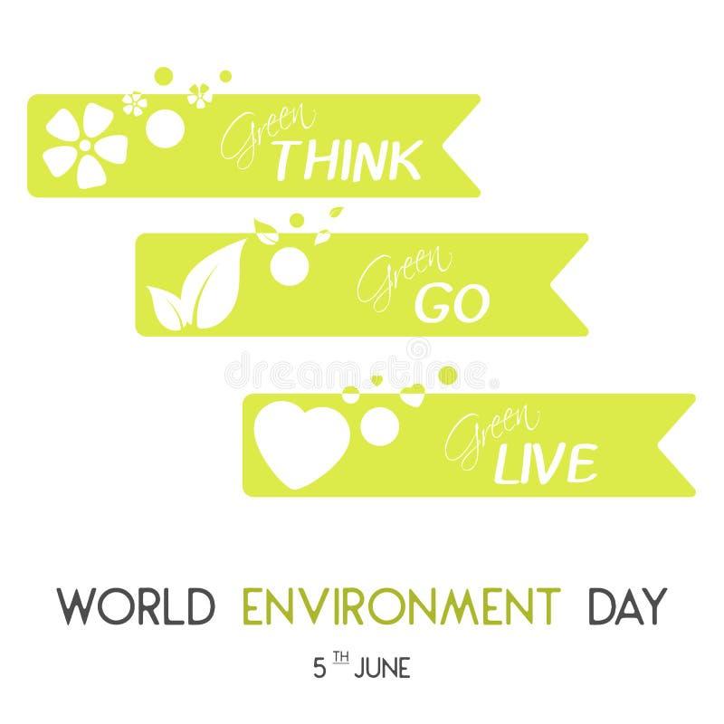 Moderne kaart met groene linten en hand het getrokken van letters voorzien in minimalistische stijl voor de dag van het Wereldmil vector illustratie