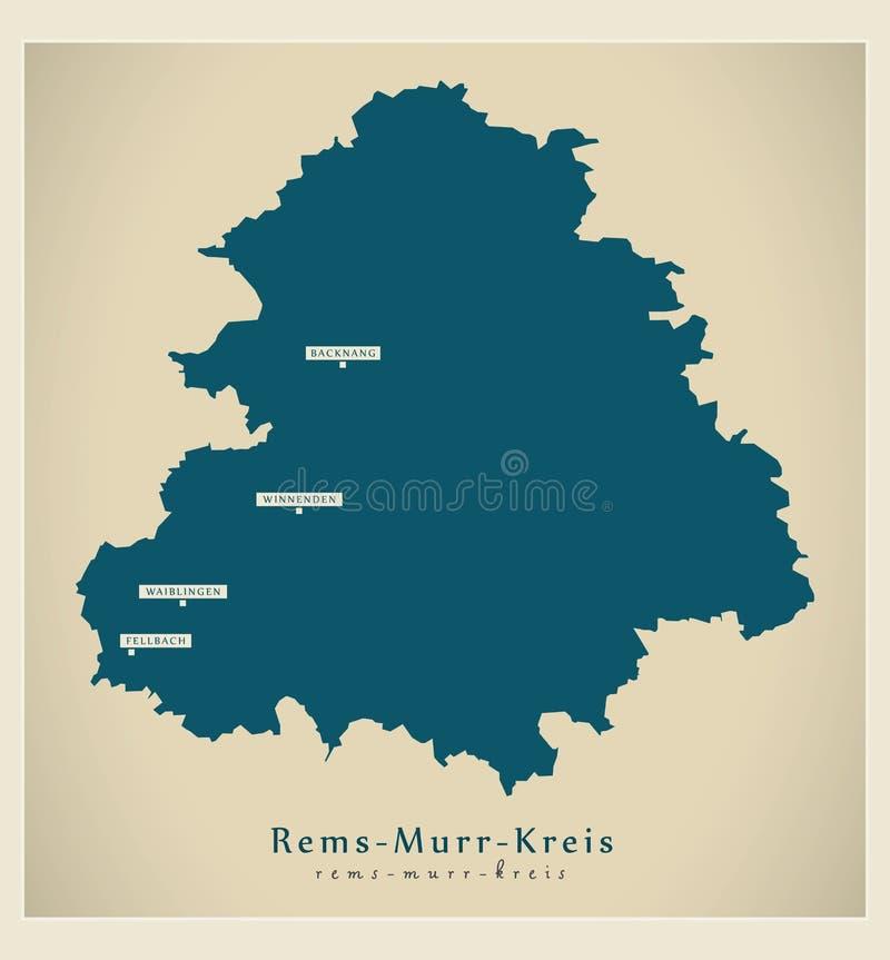 Moderne Kaart - provincie rem-Murr-Kreis van Baden Wuerttemberg DE royalty-vrije illustratie