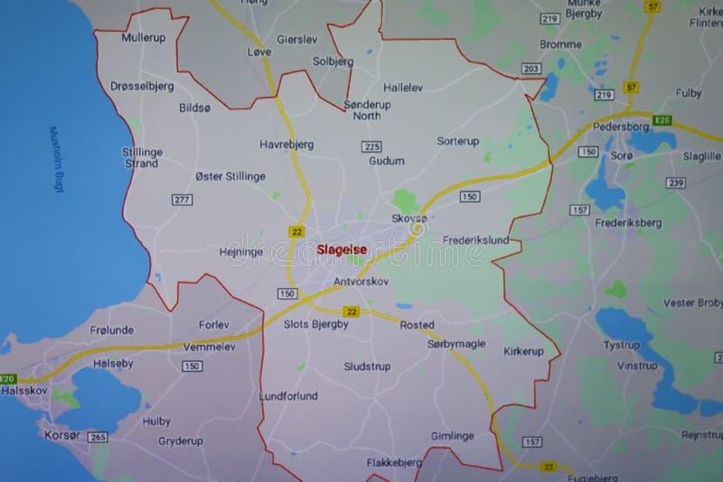Moderne kaart voor Slagelse, Denemarken stock foto