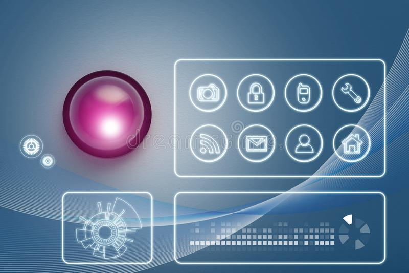 Moderne kabeltelevisie-veiligheidscamera en virtuele pictogrammen stock illustratie