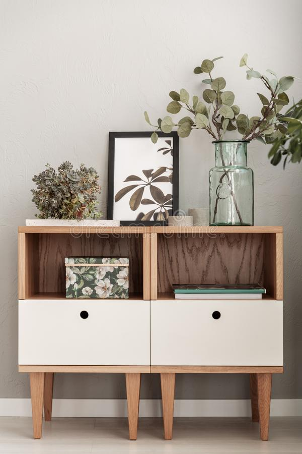 Moderne Kabinette verziert mit Anlagen in einem Wohnzimmerinnenraum stockbild