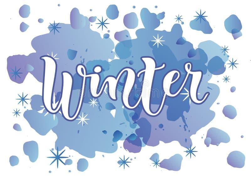 Moderne kalligrafie van de Winter in wit met blauw overzicht op blauwe waterverfachtergrond met sneeuwvlokken stock illustratie