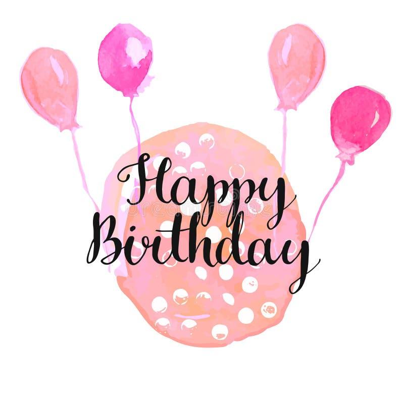 Moderne kalligrafieuitdrukking - gelukkige verjaardag - bij royalty-vrije illustratie
