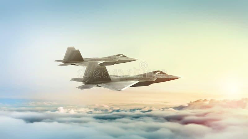 Moderne Kampfflugzeuge, die bei Dämmerung oder Sonnenaufgang fliegen Abbildung 3D vektor abbildung
