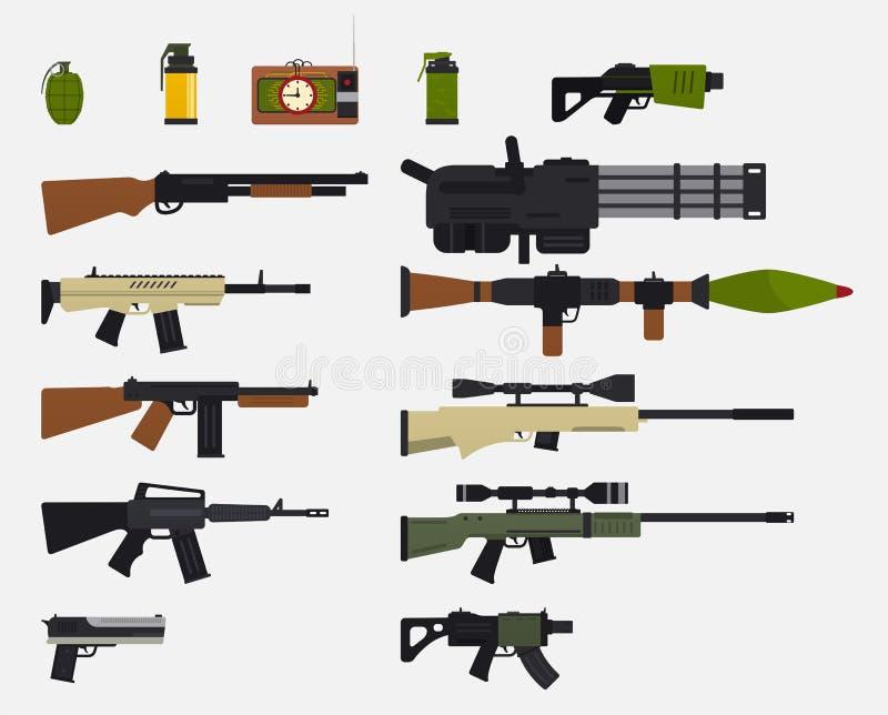 Moderne Kampfwaffen Satz Militärwaffen, automatische Feuerwaffen, Gewehre, Schrotflinte, Revolver, Granaten, Sprengkörper lizenzfreie abbildung