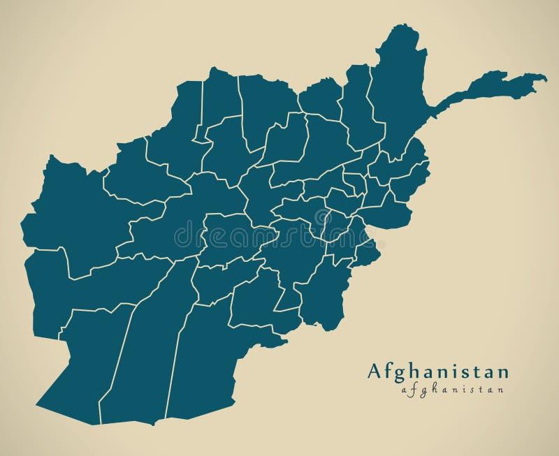 Moderne Karte - Afghanistan mit Provinzen AF vektor abbildung
