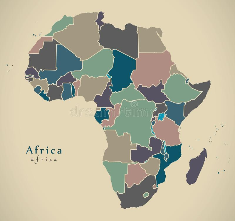 Moderne Karte - Afrika-Kontinent mit Landpolitischem gefärbt vektor abbildung