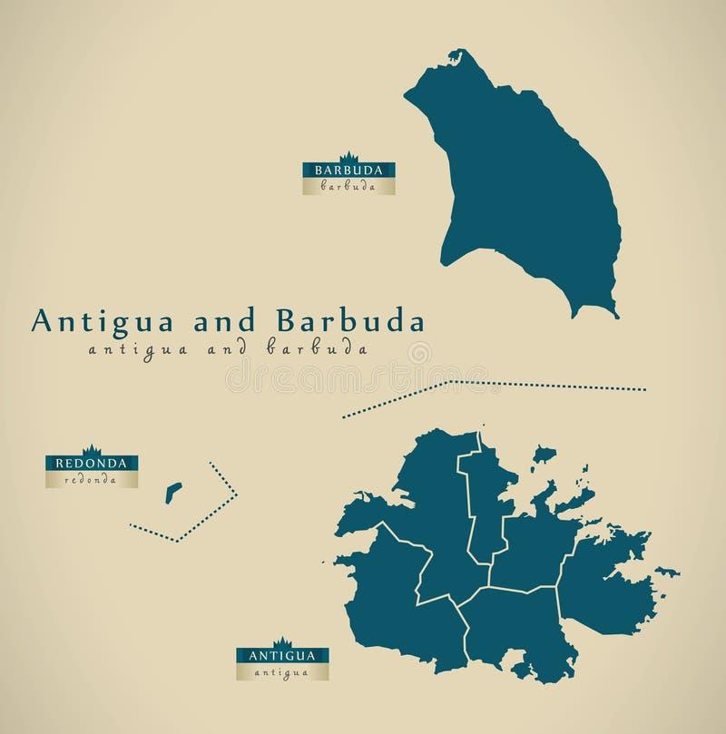 Moderne Karte - Antigua und Barbuda-Regionen AG lizenzfreie abbildung