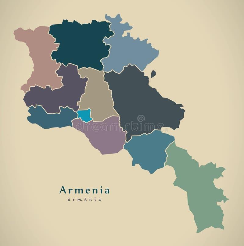 Moderne Karte - Armenien mit Regionen färbte politisches morgens vektor abbildung