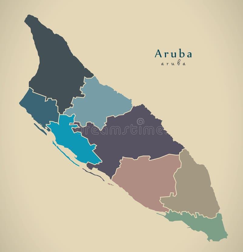 Moderne Karte - Aruba mit Regionen färbte Aw vektor abbildung