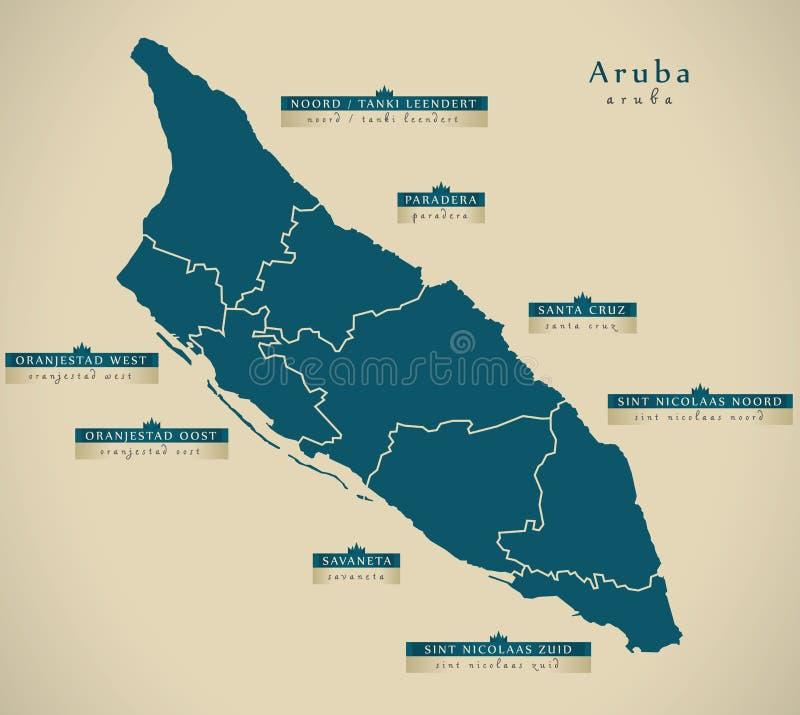 Moderne Karte - Aruba mit Regionen führt Aw einzeln auf vektor abbildung