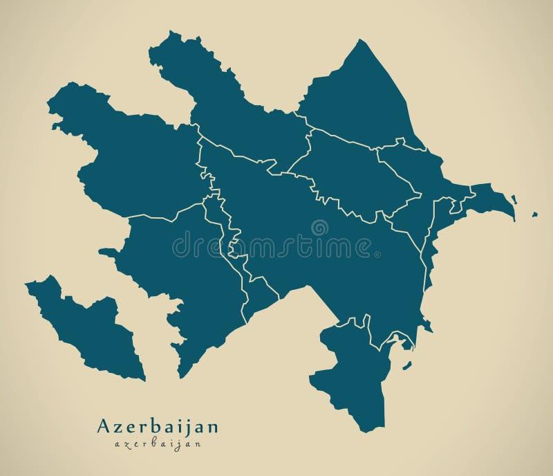 Moderne Karte - Aserbaidschan mit Regionen AZ vektor abbildung
