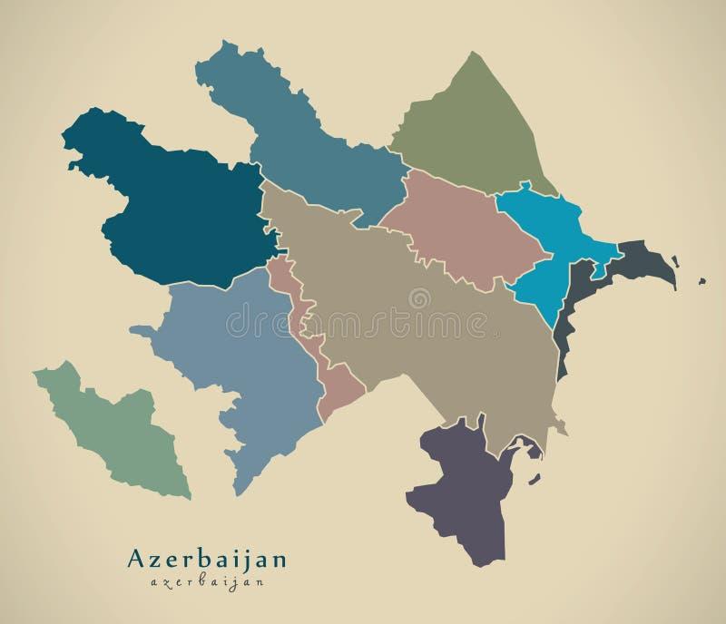 Moderne Karte - Aserbaidschan mit Regionen färbte politisches AZ vektor abbildung