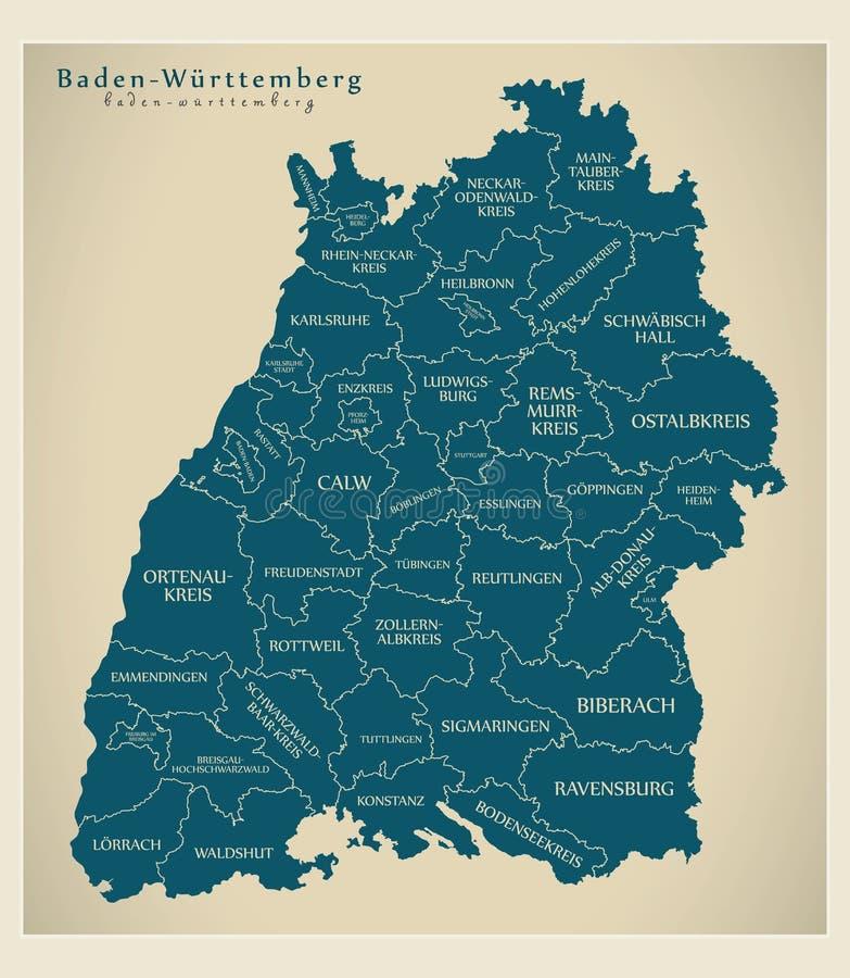 Moderne Karte - Baden Wuerttemberg-Karte von Deutschland mit Grafschaften und Aufklebern stock abbildung
