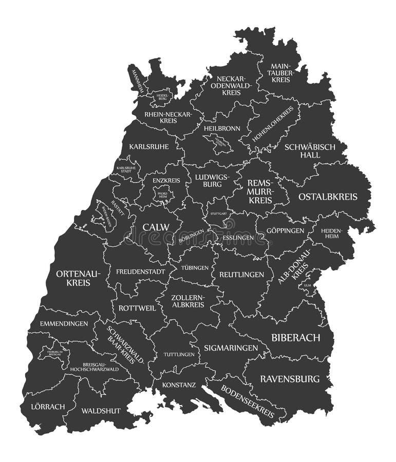 Moderne Karte - Baden Wuerttemberg-Karte von Deutschland mit Grafschaften und Aufkleberschwarzem stock abbildung