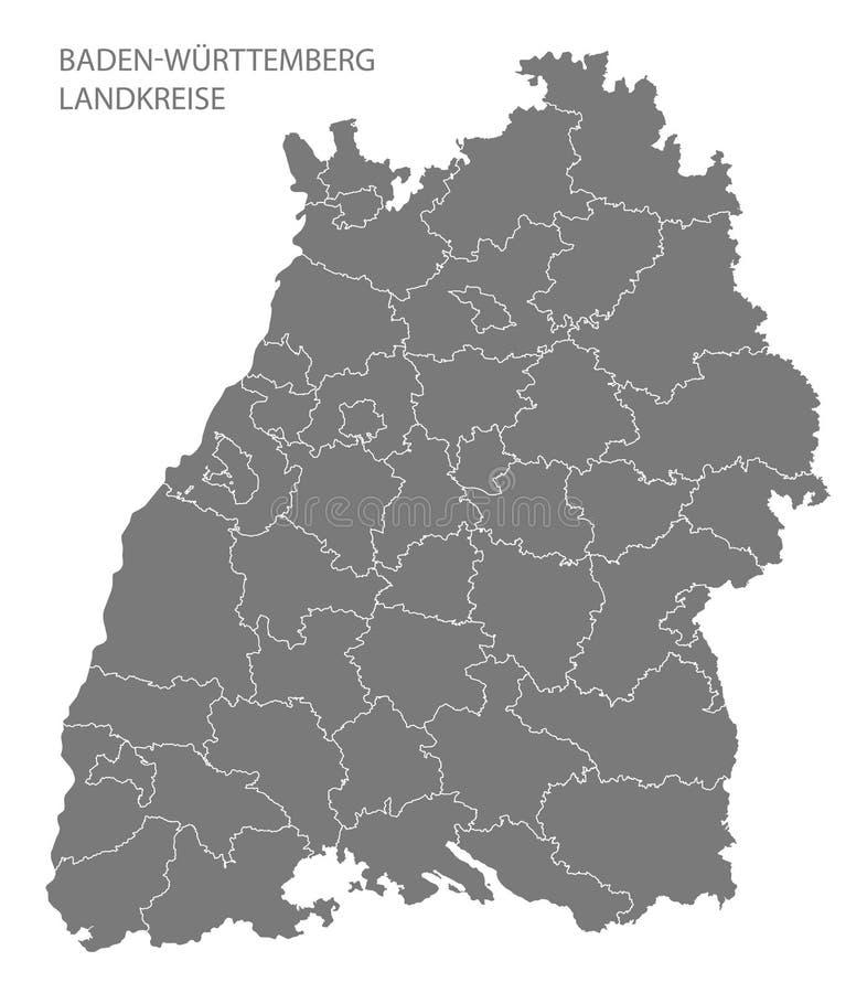 Moderne Karte - Baden Wuerttemberg-Karte von Deutschland mit Grafschaftsgrau stock abbildung