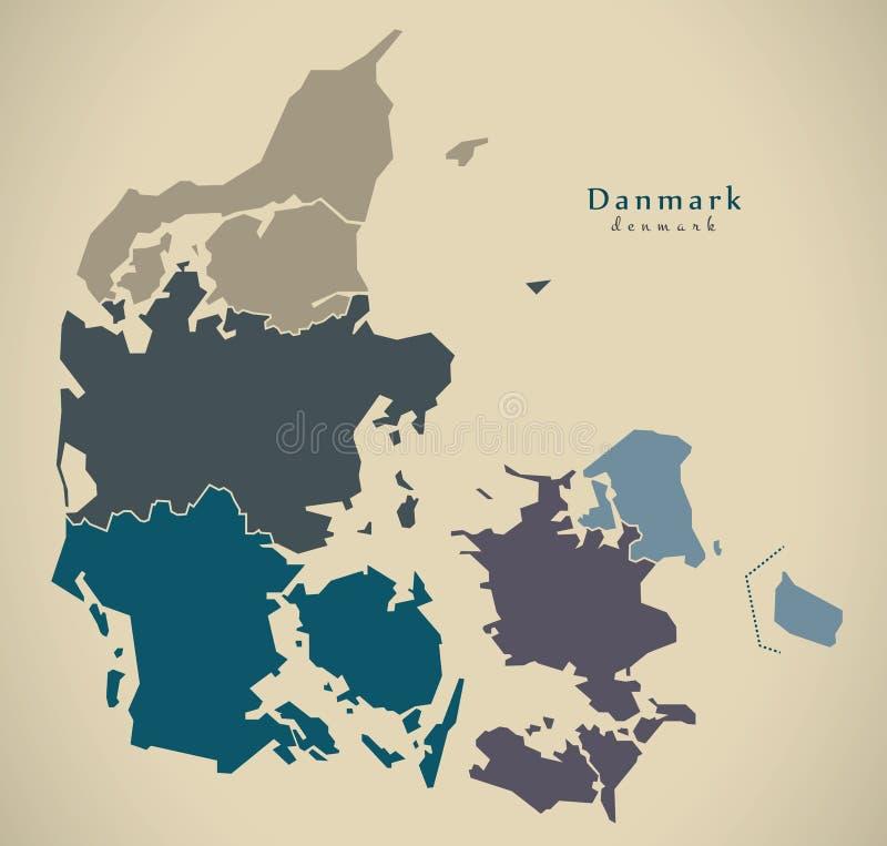 Moderne Karte - Dänemark mit Regionen DK vektor abbildung