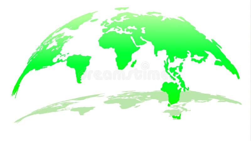 Moderne Karte 3D der Welt in Emerald Color mit Schatten lizenzfreie abbildung