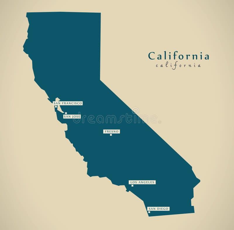 Moderne Karte - Illustration Kaliforniens USA lizenzfreies stockfoto