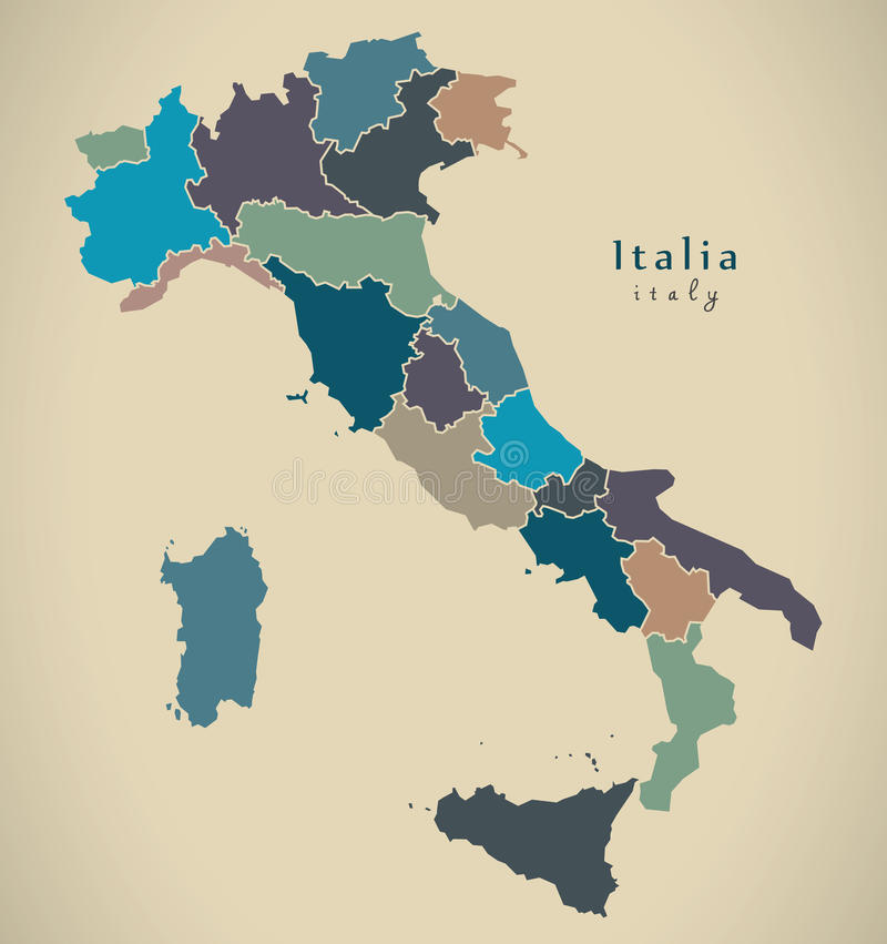 Moderne Karte - Italien IT mit Regionen vektor abbildung