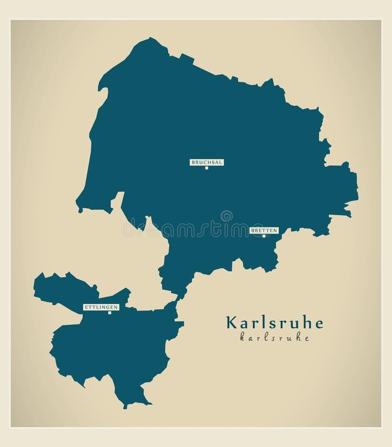 Moderne Karte - Karlsruhe-Grafschaft von Baden Wuerttemberg De lizenzfreie abbildung