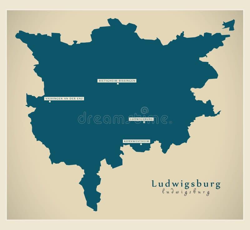 Moderne Karte - Ludwigsburg-Grafschaft von Baden Wuerttemberg De lizenzfreie abbildung