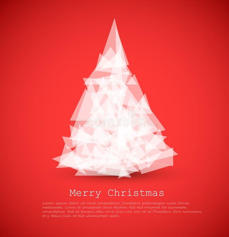 moderne Karte mit abstraktem weißem Weihnachtsbaum lizenzfreie abbildung