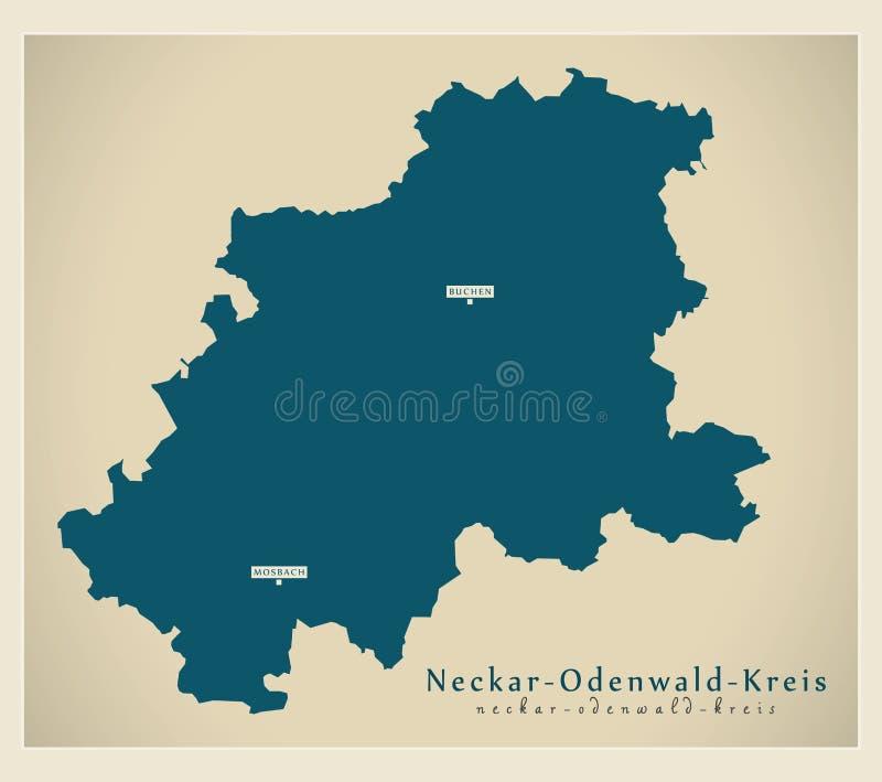 Moderne Karte - Neckar--Odenwald-Kreisgrafschaft von Baden Wuerttemberg De stock abbildung