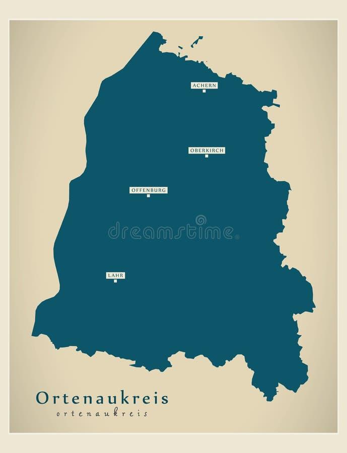 Moderne Karte - Ortenaukreis-Grafschaft von Baden Wuerttemberg De lizenzfreie abbildung