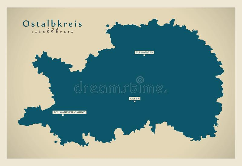 Moderne Karte - Ostalbkreis-Grafschaft von Baden Wuerttemberg De lizenzfreie abbildung