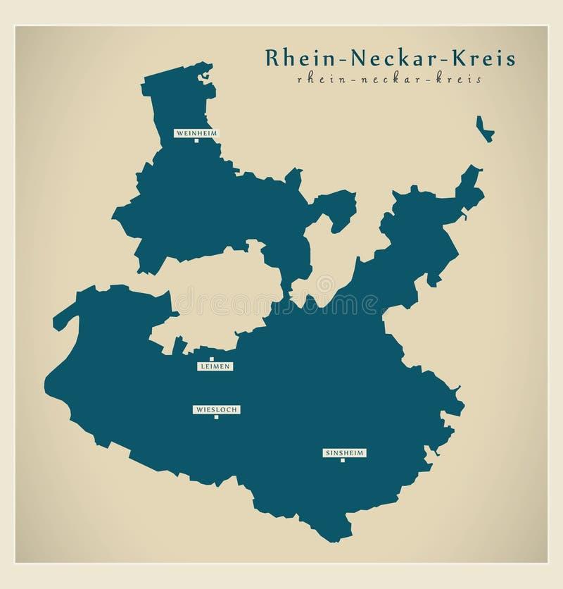 Moderne Karte - Rhein-Neckar--Kreisgrafschaft von Baden Wuerttemberg De lizenzfreie abbildung