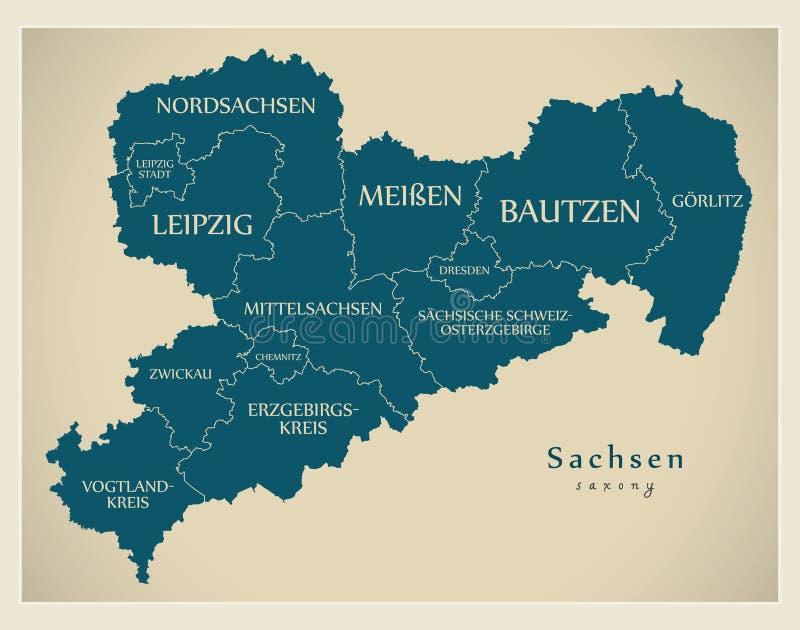 Moderne Karte - Sachsen-Karte von Deutschland mit Grafschaften und Aufklebern lizenzfreie stockbilder