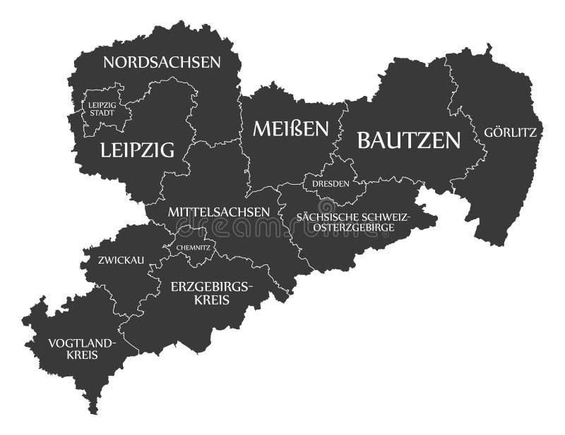 Moderne Karte - Sachsen-Karte von Deutschland mit Grafschaften und Aufkleberschwarzem stockfoto
