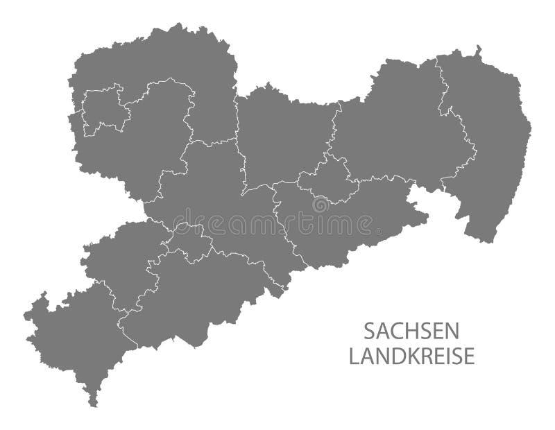 Moderne Karte - Sachsen-Karte von Deutschland mit Grafschaftsgrau stockfotos