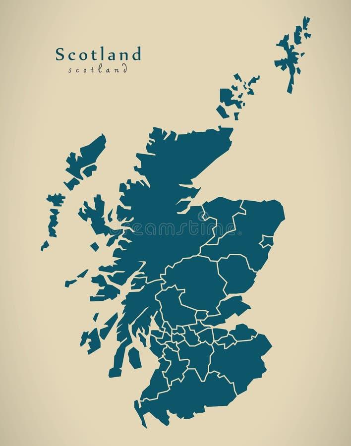 Moderne Karte - Schottland mit den Regionen BRITISCH stock abbildung