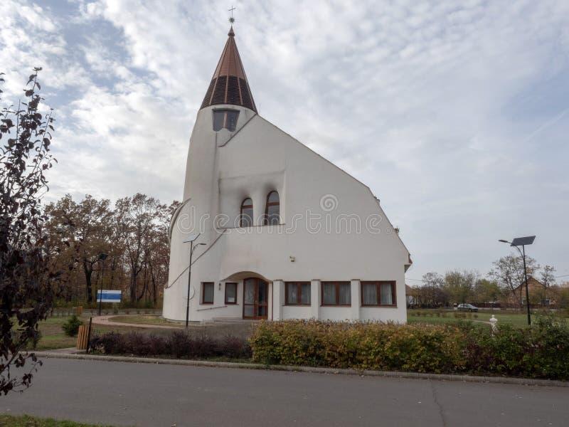 Moderne kerk van Hortobà ¡ GY, Hongarije stock foto's