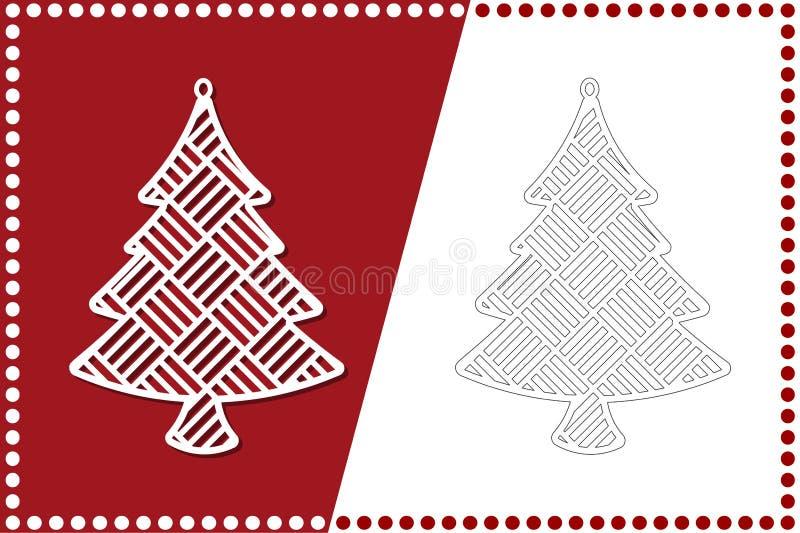 Moderne Kerstboom Het Stuk speelgoed van het nieuwjaar voor laserknipsel Vector illustratie stock illustratie