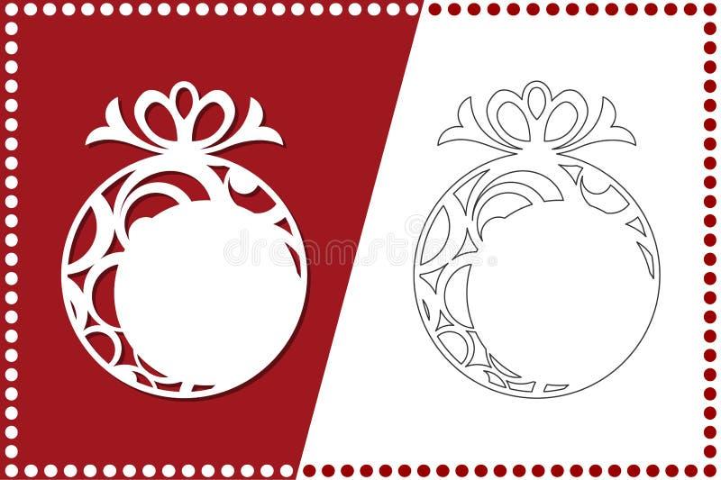 Moderne Kerstboom Het Stuk speelgoed van het nieuwjaar voor laserknipsel Vector illustratie royalty-vrije illustratie