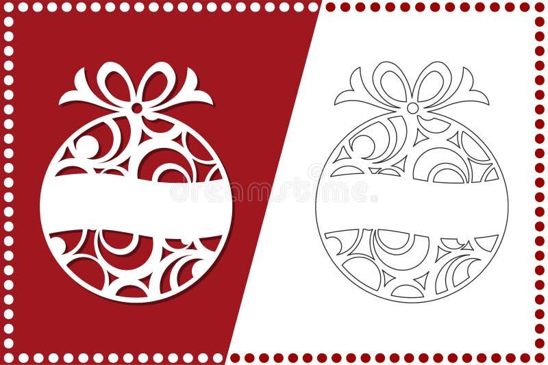 Moderne Kerstboom Het Stuk speelgoed van het nieuwjaar voor laserknipsel Vector illustratie vector illustratie