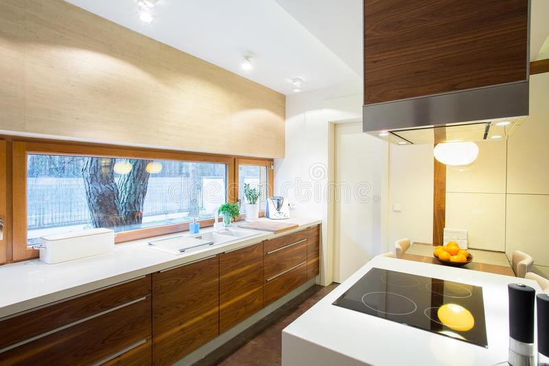 Moderne keuken binnen nieuwe flat royalty-vrije stock afbeelding