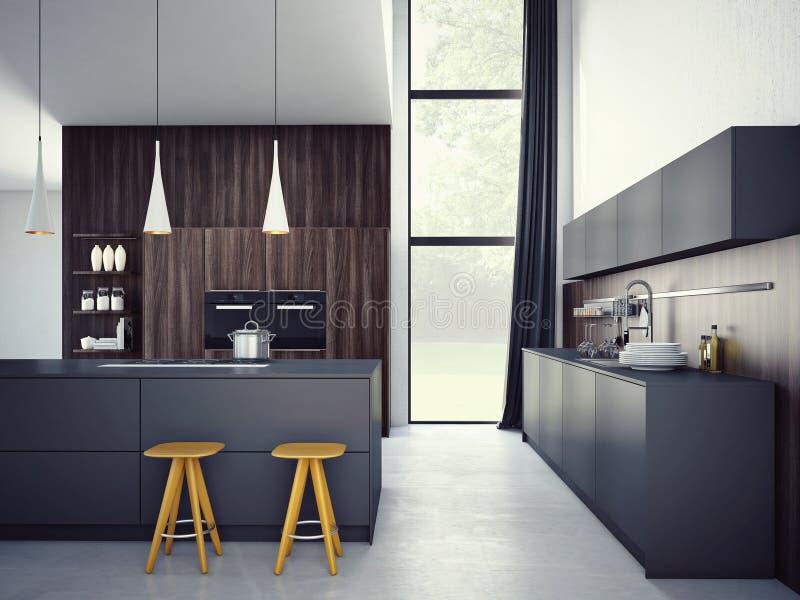 Moderne keuken in een huis of een flat het 3d teruggeven royalty-vrije stock fotografie