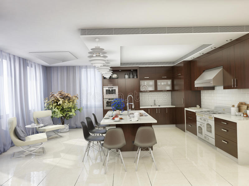 Moderne keuken in een woonhuis royalty-vrije illustratie