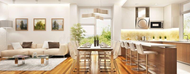 Moderne keuken en woonkamer in een groot huis stock foto's
