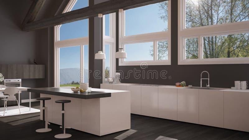 Moderne keuken in klassieke villa, zolder, grote panoramische vensters  royalty-vrije illustratie