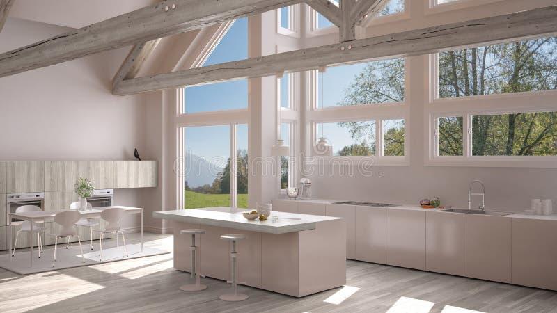 Moderne keuken in klassieke villa, zolder, grote panoramische vensters  stock illustratie