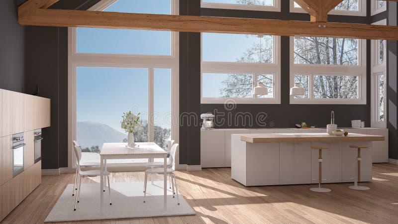 Moderne keuken in klassieke villa, zolder, grote panoramische vensters  vector illustratie