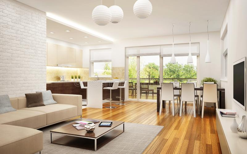 Moderne keuken met flatwoonkamer royalty-vrije stock afbeeldingen