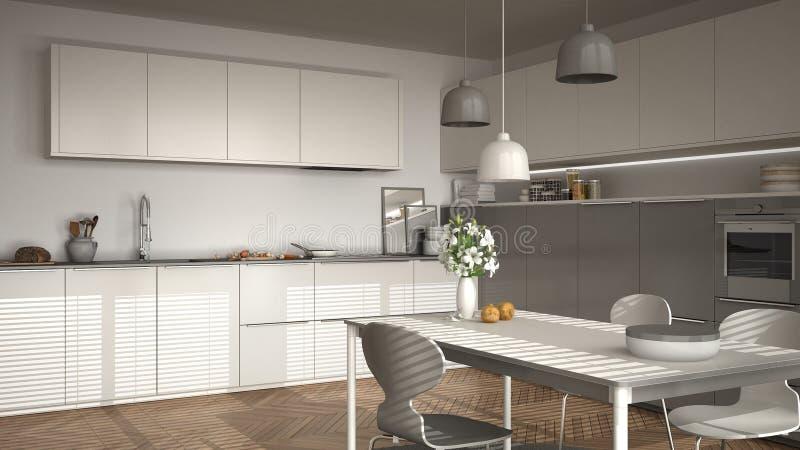 Moderne keuken met lijst en stoelen, grote vensters en herringbon stock foto's